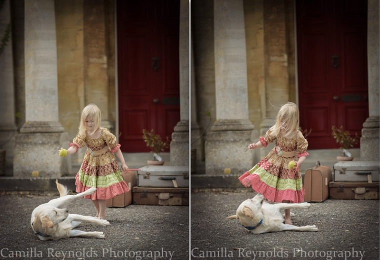 outdoor children photo shoot Cotswolds girls and dog