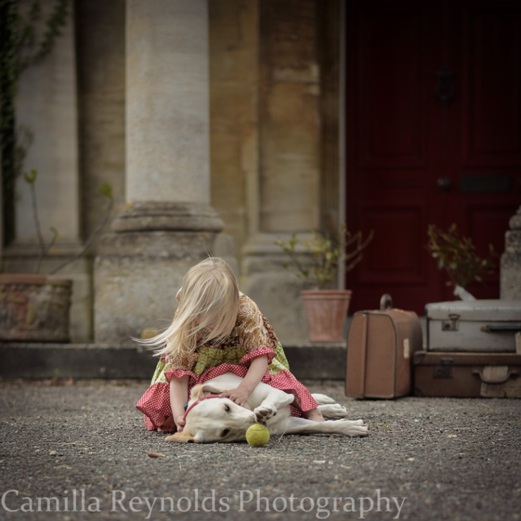 natural children photography Cotswolds girls and dog