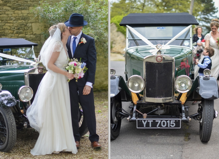 wedding car natural wedding photographer Cotswolds