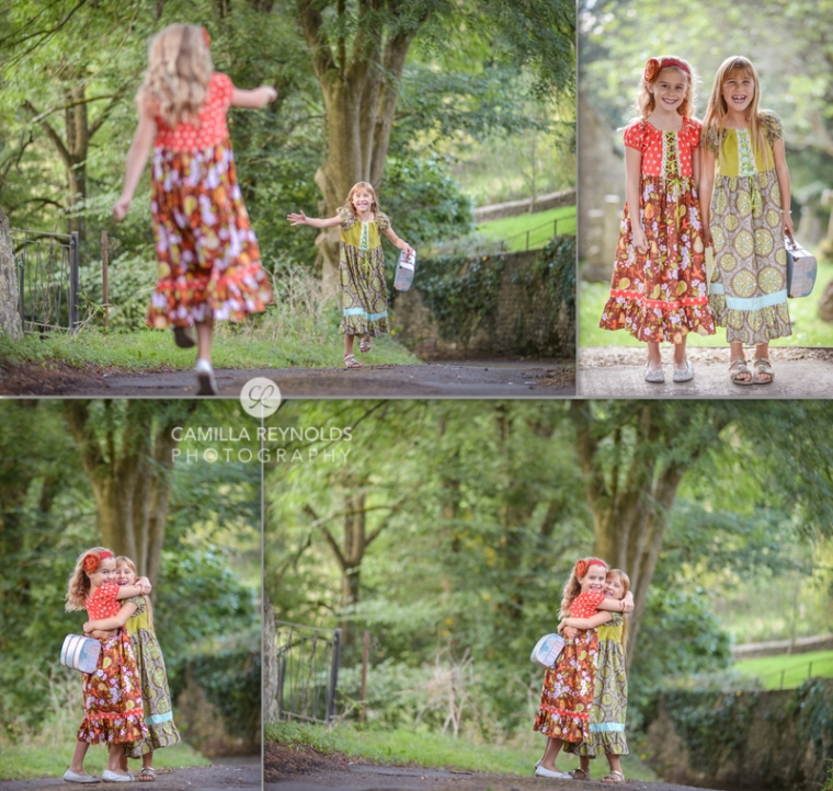 creative children photo shoot Cotswolds girls happy