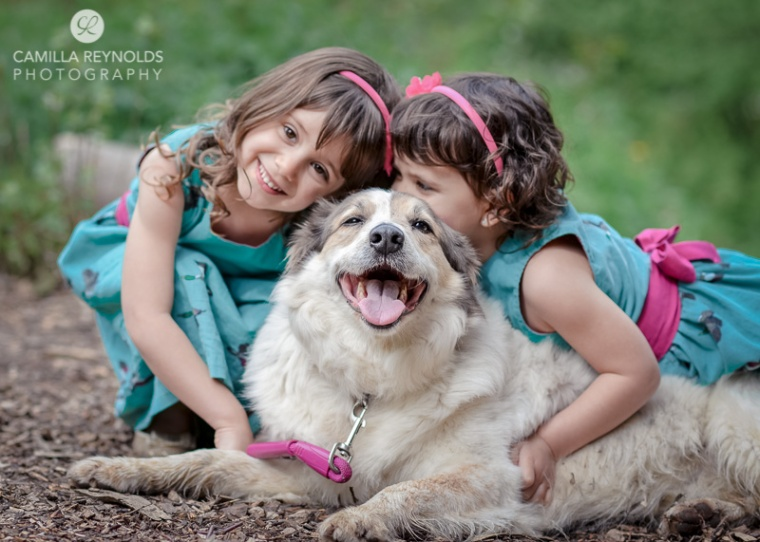 sisters children and dog photography Cotswolds Gloucestershire