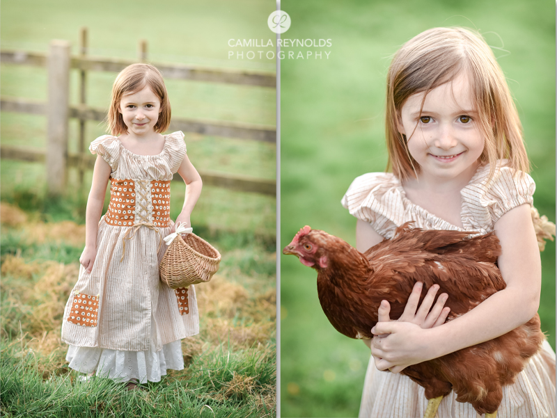 natural children photography Cotswolds peasant girl chickens