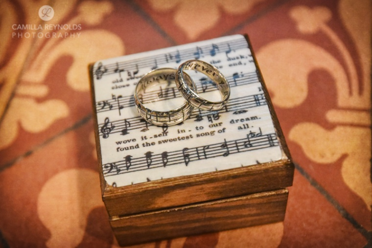 wedding rings music sheet paper theme Cotswolds