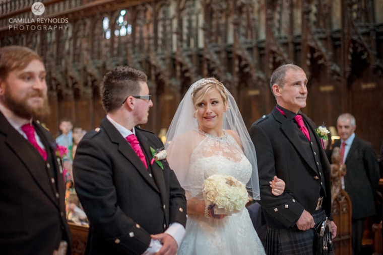 emotional bride natural wedding photography Gloucester Cathedral