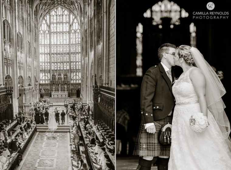 first kiss wedding photography Gloucester Cathedral Gloucestershire
