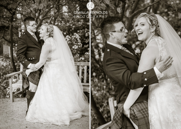 fun wedding photography Cotswolds kilt groom