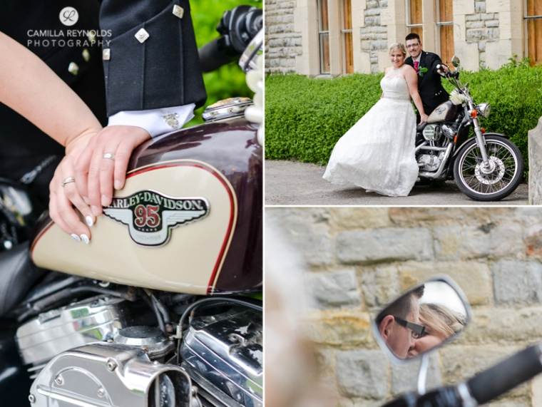 Harley davidson wedding photography Cotswolds