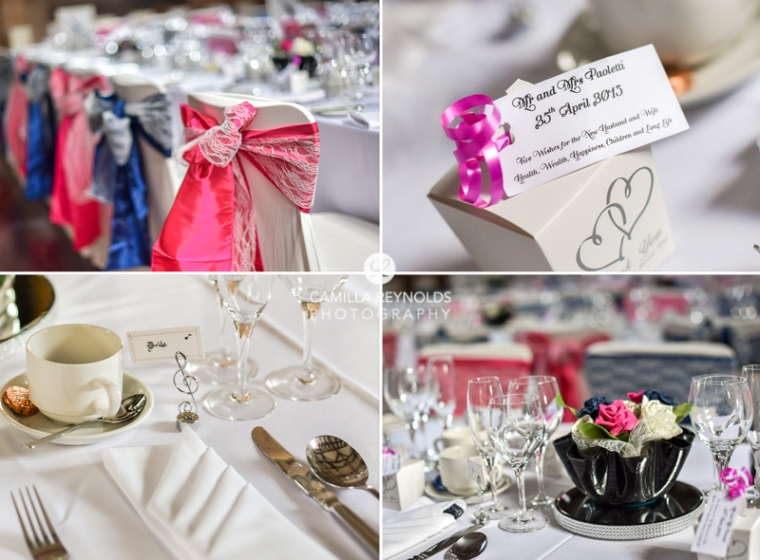 table settings wedding navy pink Cotswold photography