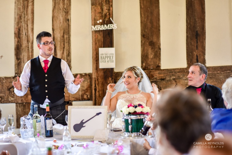 natural wedding photographer Cotswolds groom speech
