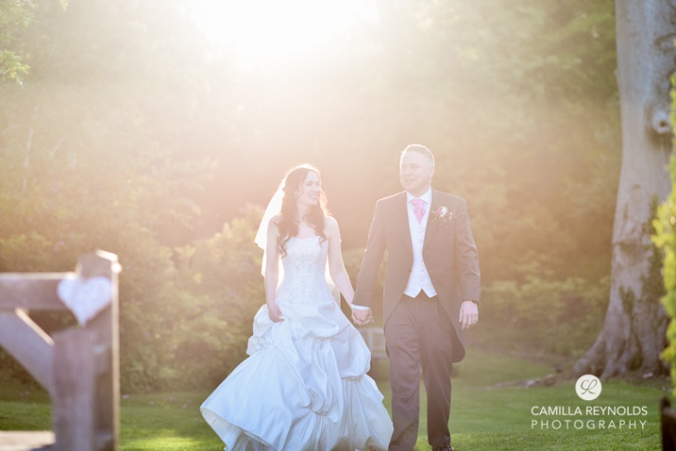 sunset bride and groom Cripps barn  wedding