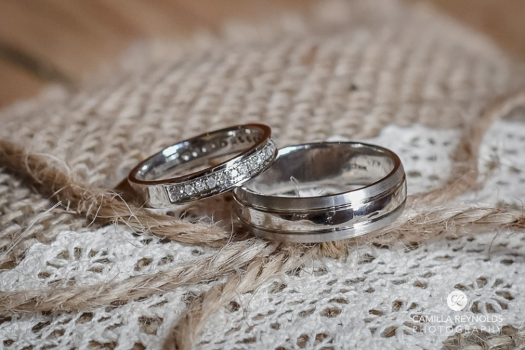 rings bride and groom Cripps barn  Cotwold wedding