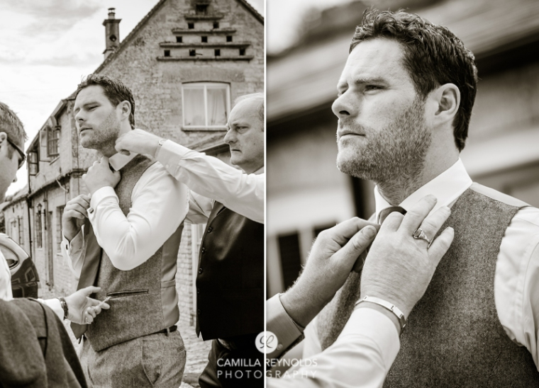 groom getting ready Cotswold natural wedding photographers