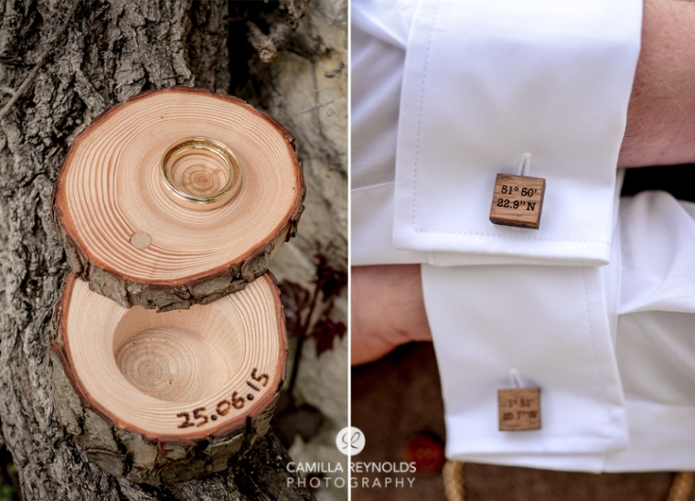 rings cufflinks Cotswold natural wedding photography