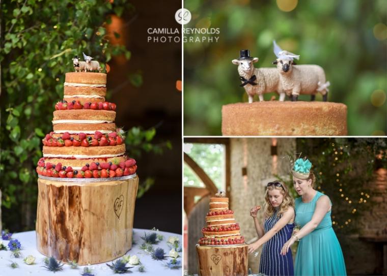 naked wedding cake Cripps Barn photographers Cotswolds