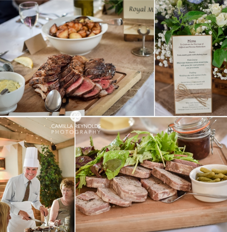 steak wedding food Cripps Barn photographers Cotswolds