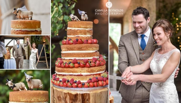 cake cutting Cripps Barn beautiful wedding photography Cotswolds