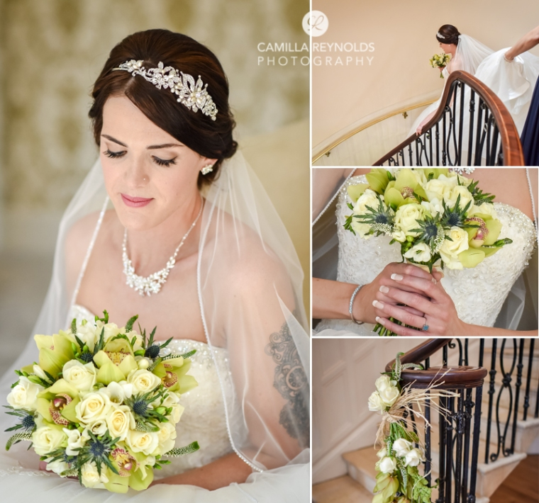 Cotswold wedding Eastington park bride portraits