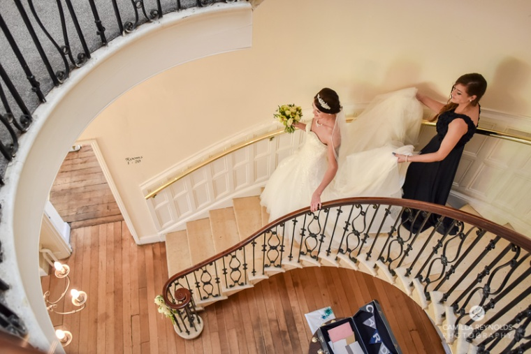 bride staircase Cotswold wedding Eastington park