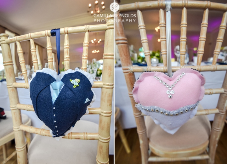 bride and groom cushions eastington park weddings cotswolds