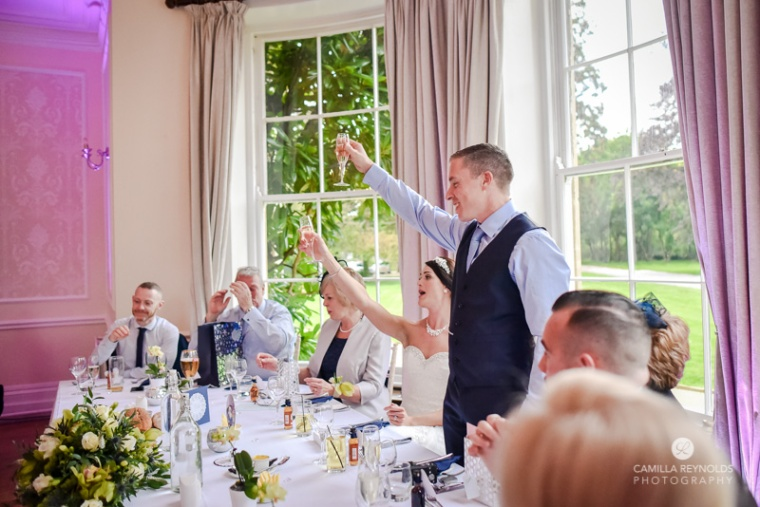 Cotswold wedding Eastington park toast
