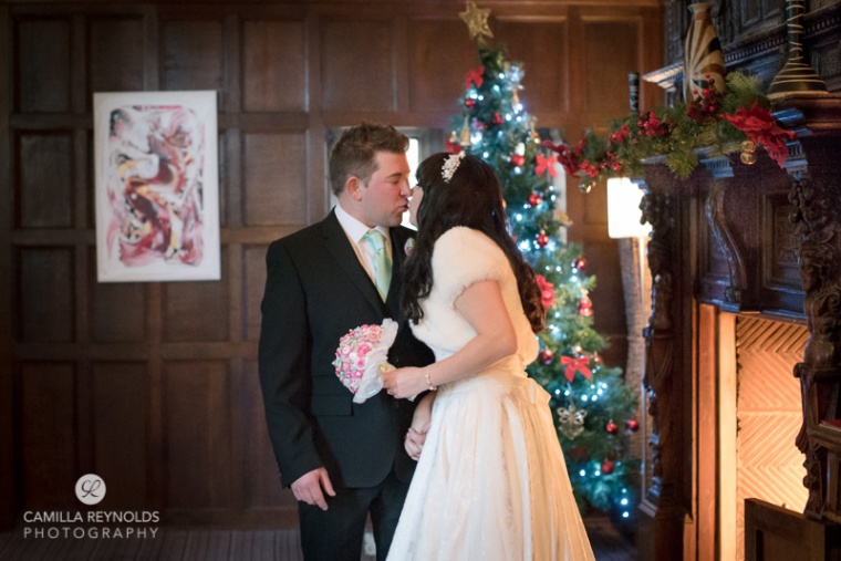 Christmas wedding photography Stonehouse Court hotel