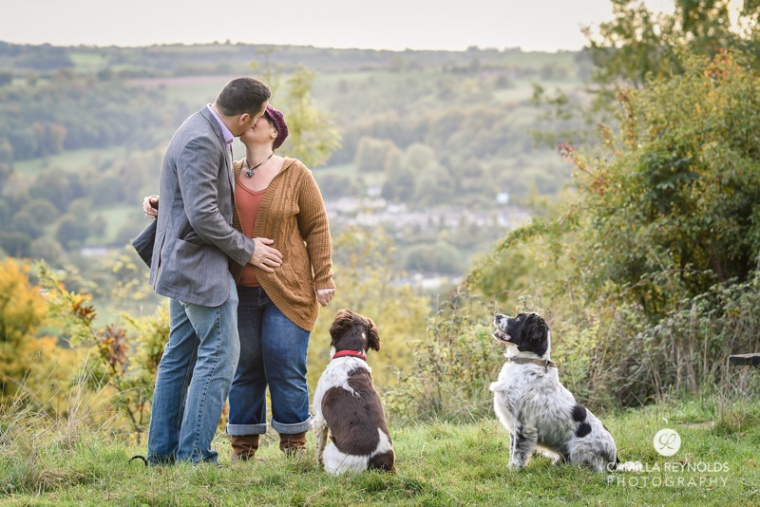 engagement photo session with dogs Cotswold photographers