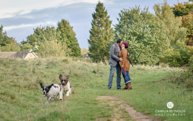 natural engagement wedding photographers with dogs