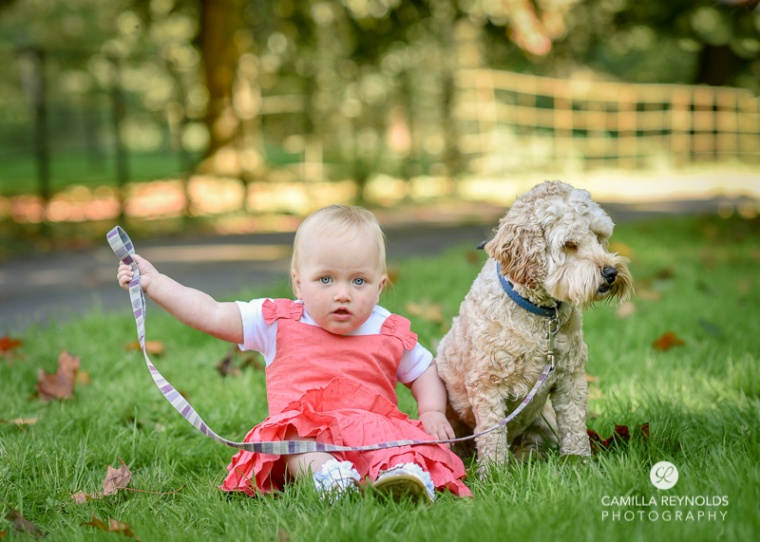 baby and dog photo shoot