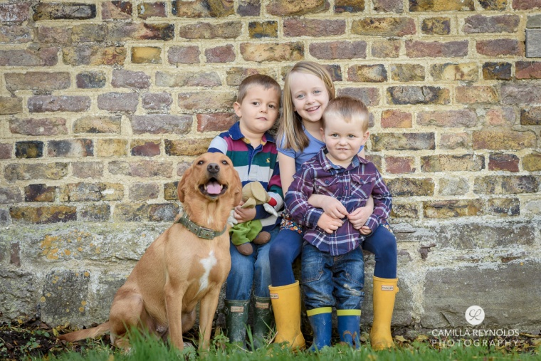 children and dog sibling photo shoot Cheltenham