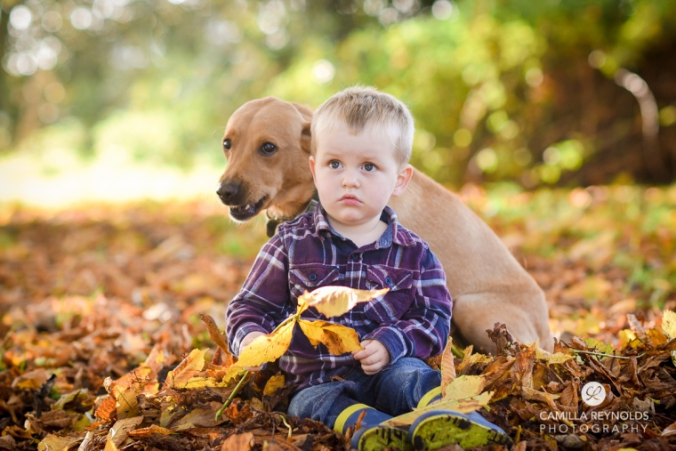 outdoor children photo shoot boy and dog