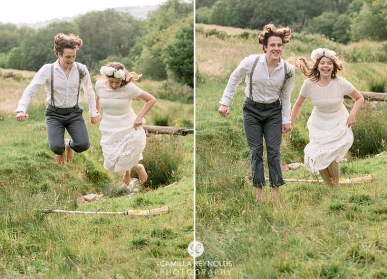 wedding jumping over broom