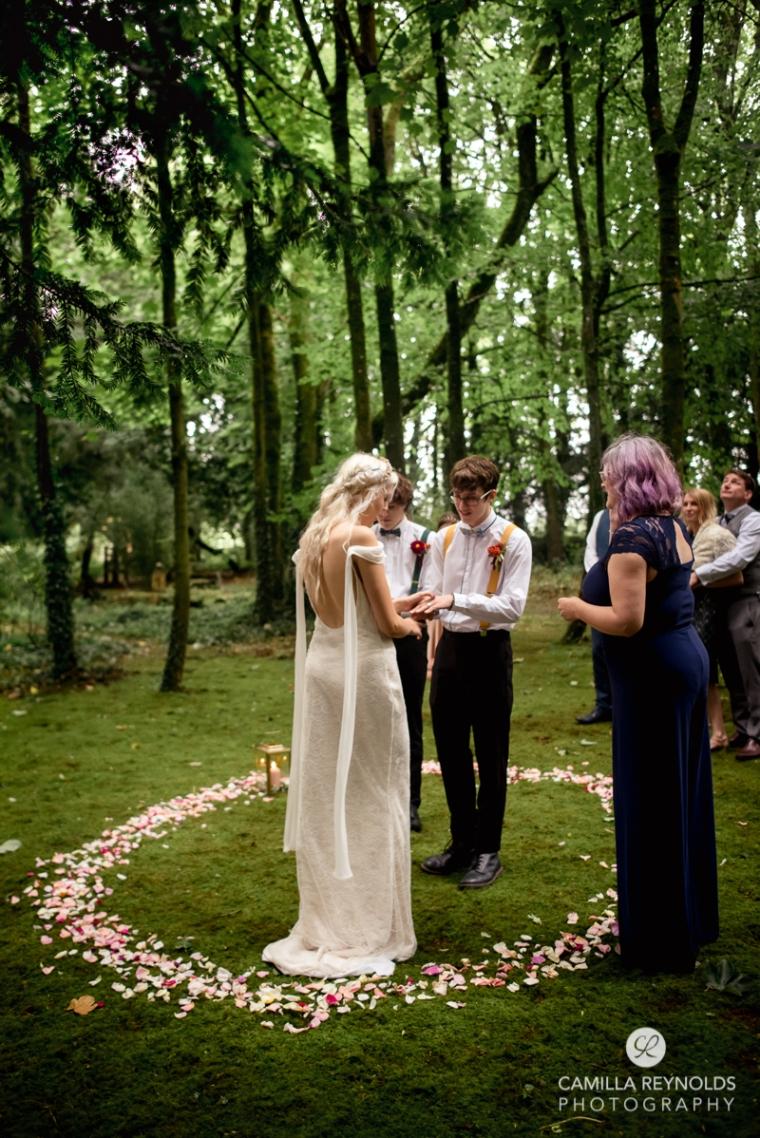 rose petal circle wedding woods matara