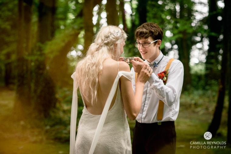 wedding dress woodland bride groom