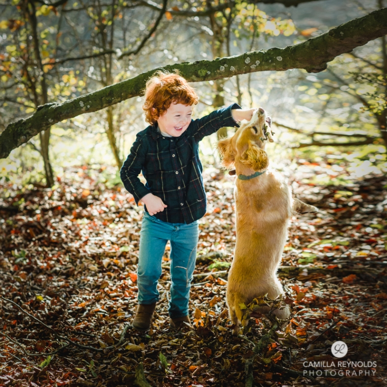boy dog natural children family photo session Cotswolds