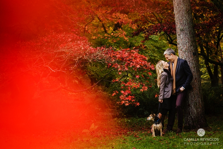 couple engagement photo shoot with dog Cotswold photographer