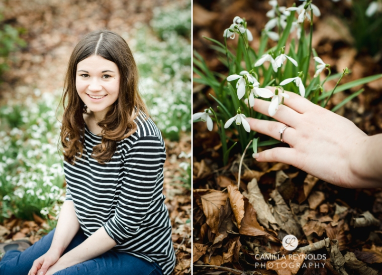 engagement photo shoot ring snowdrops Cotswolds