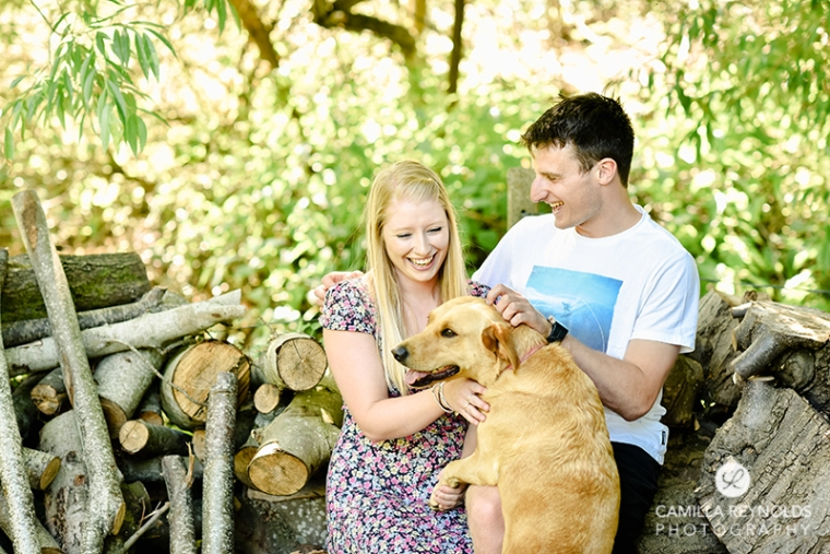 engagement pre wedding shoot with dog Cotswolds