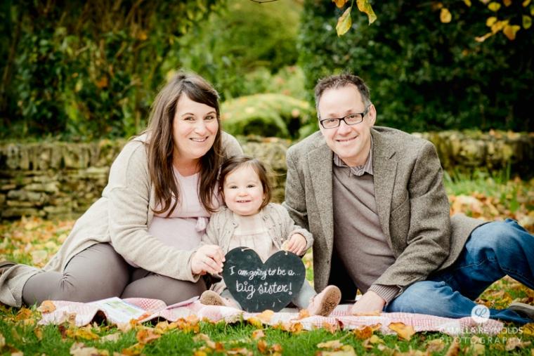 family pregnancy announcement photo shoot Cotswolds