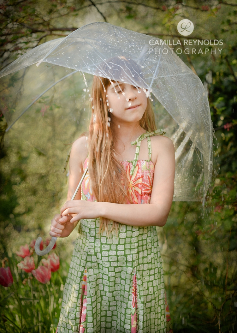 girl rain umbrella fine art photo Cotswolds uk