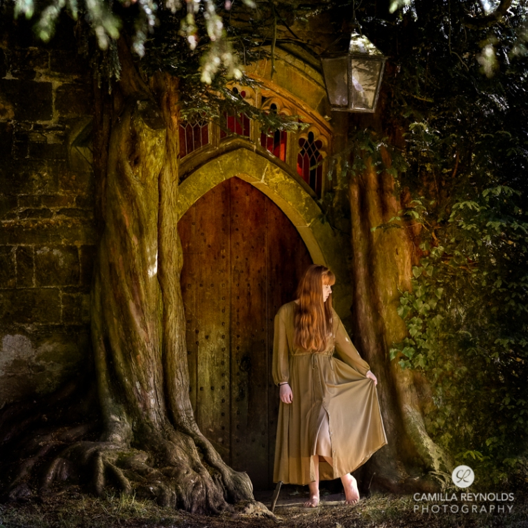 hobbit house door fine art photography girl Cotswolds uk