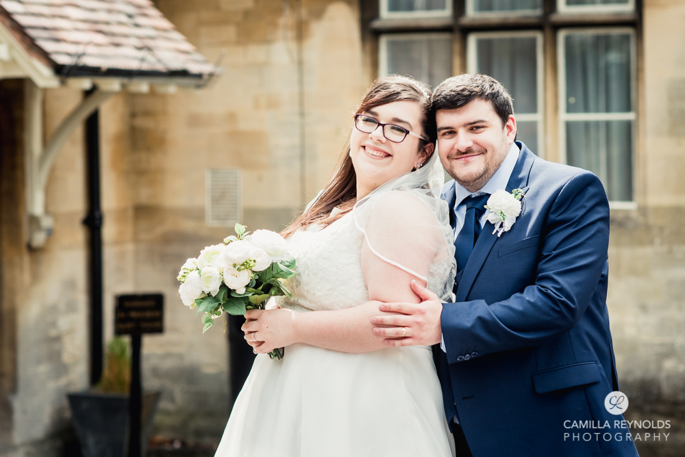 bride and groom at stroud registry office Gloucestershire Cotswolds