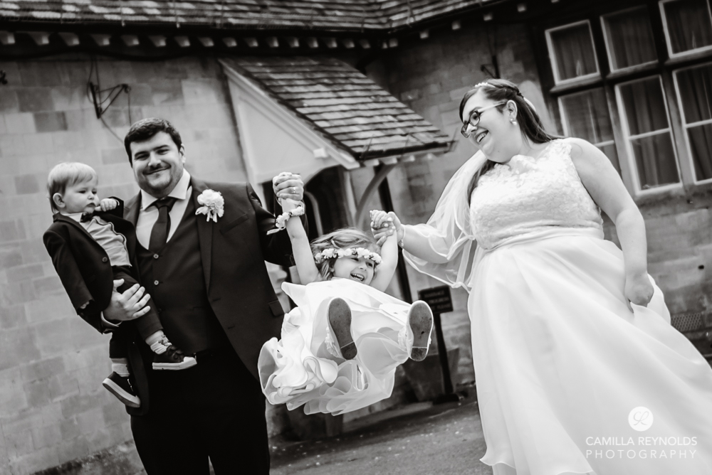 bride and groom with children micro wedding photography