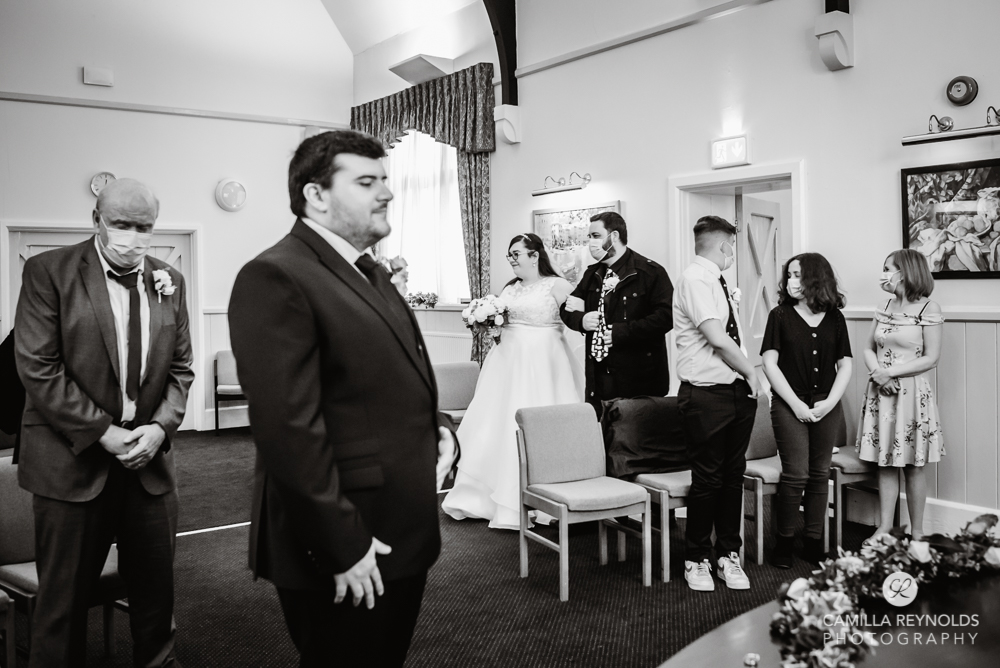 wedding ceremony  at stroud registry office Gloucestershire
