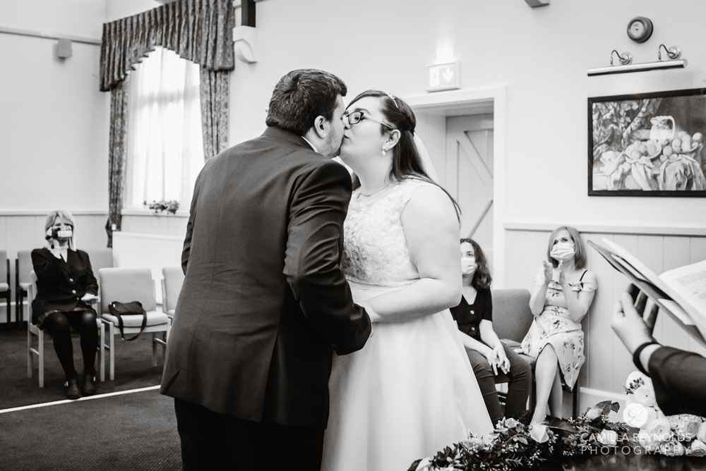stroud registry office wedding ceremony first kiss, Gloucestershire