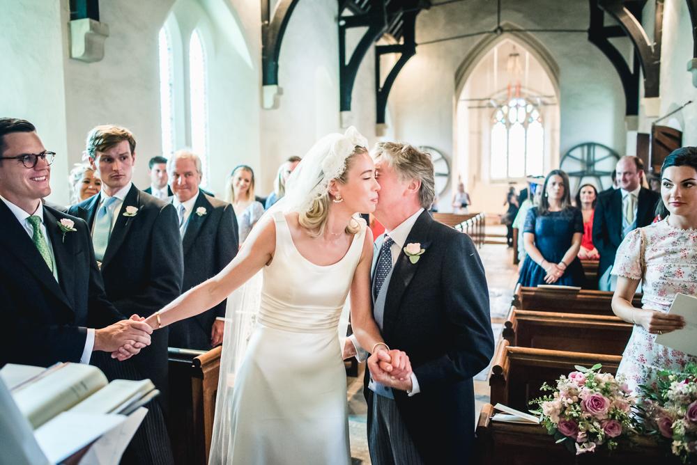 bride given away barnsley church wedding cotswolds uk