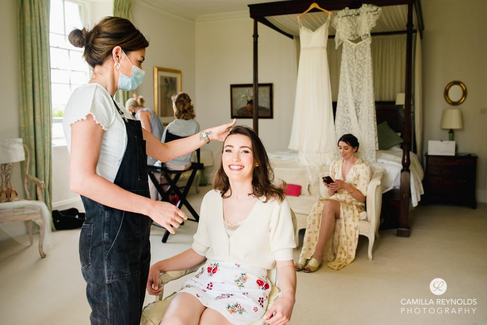 bridal hair and make up done at kingscote house matara Gloucestershire
