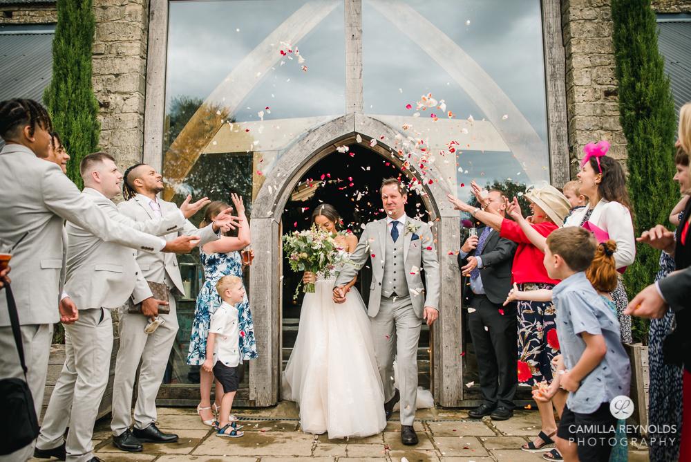 confetti throw wedding cripps barn photography