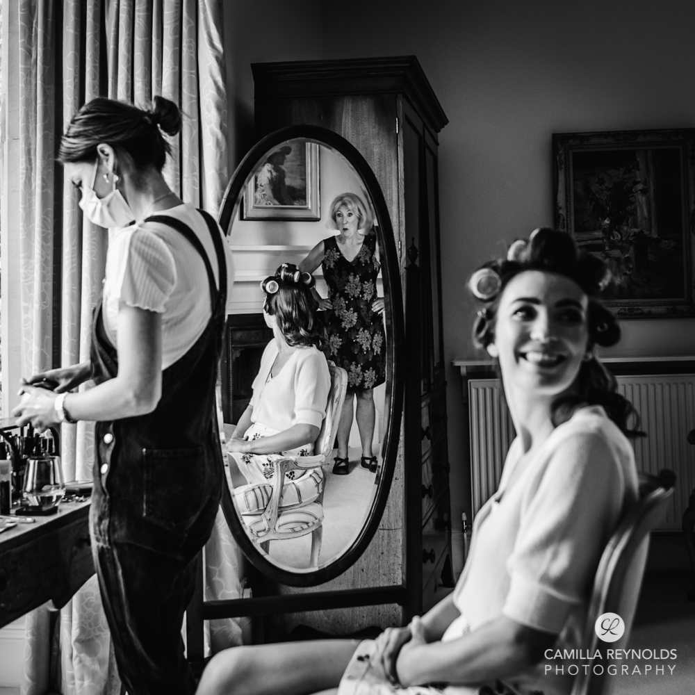 bride and mirror reflection creative storytelling documentary wedding photography Cotswolds