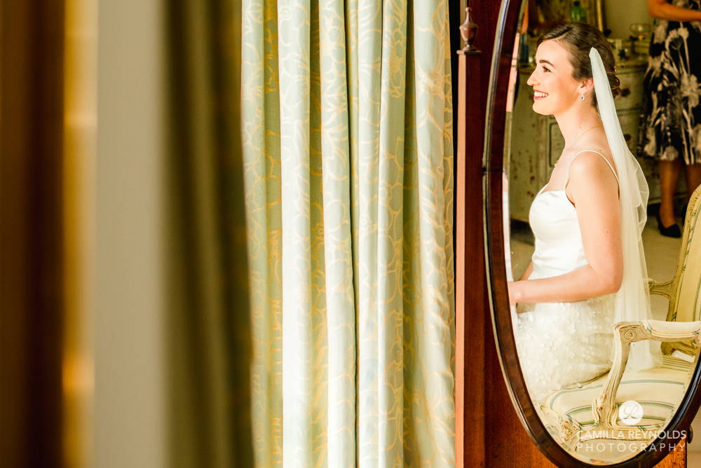 bride in the mirror creative wedding photography cotswolds matara centre