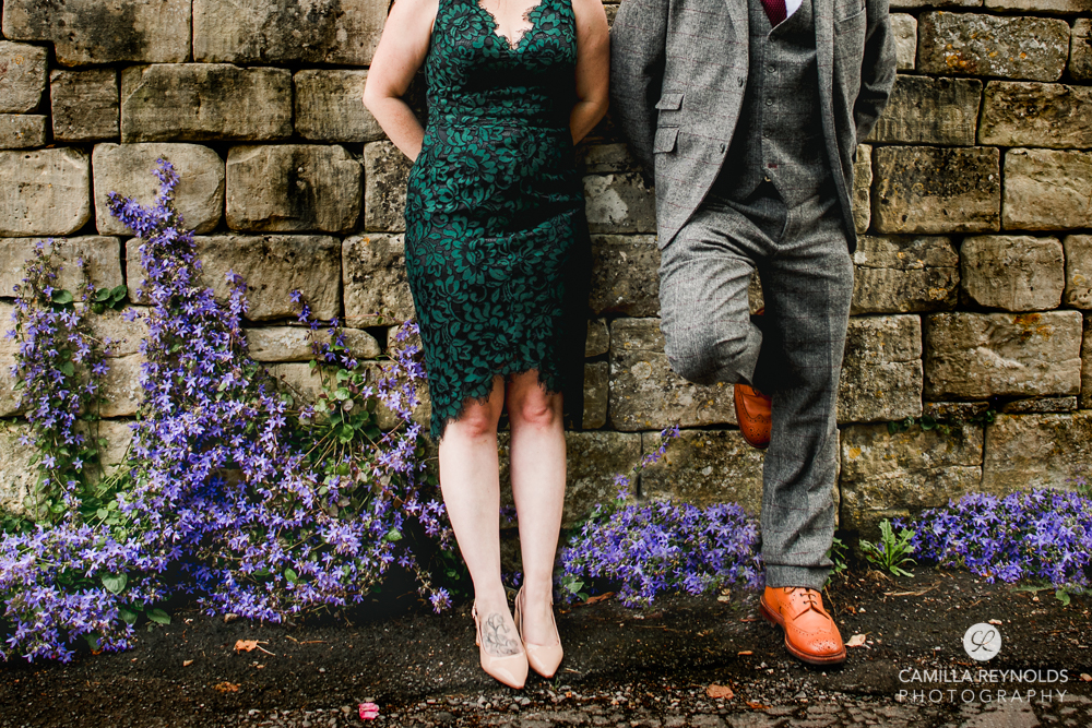 wedding shoes and flowers creative wedding photography Cotswolds